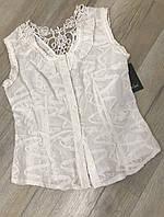 Блузка кружевная, Блузка женская белая, блузка 100 хлопок , рубашка безрукавка, блузка Турция, 46 размер