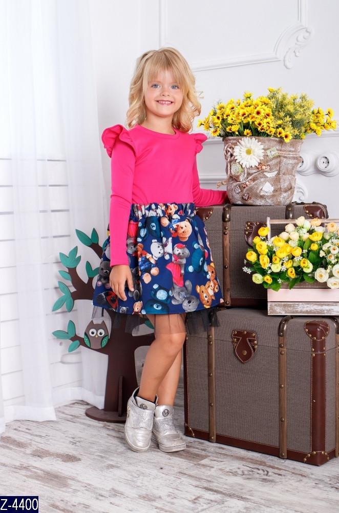 Платье детское с длинным рукавом Принт Мишки ткань трикотаж джерси  1-3 года, 4-6 лет, 6-9 лет