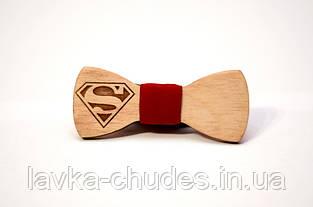 Детская деревянная галстук - бабочка супермен