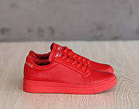 Красные кожаные кеды , фото 1