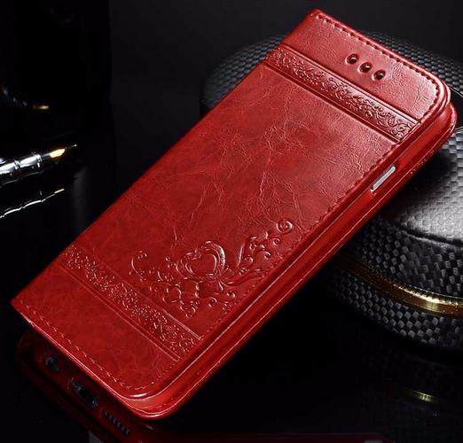 Кожаный чехол-книжка для iPhone 6 6S красный