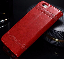 Кожаный чехол-книжка для iPhone 6 6S красный, фото 2