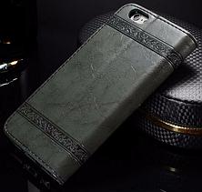 Кожаный чехол-книжка для iPhone 6 6S черный, фото 2