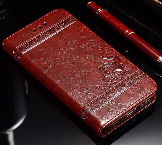 Кожаный чехол-книжка для iPhone 6 6S бордовый