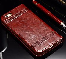 Кожаный чехол-книжка для iPhone 6 6S бордовый, фото 2