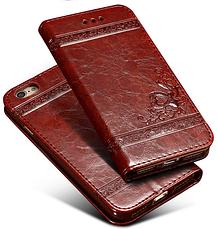 Кожаный чехол-книжка для iPhone 6 6S бордовый, фото 3