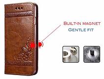 Кожаный чехол-книжка для iPhone 6 6S коричневый, фото 2