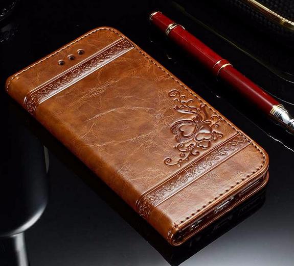 Кожаный чехол-книжка для iPhone 6 Plus /6S Plus коричневый