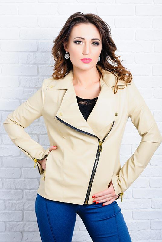 Бежевая куртка из экокожи- Клер -