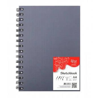 Записная книга блокнот Rosa A4,48 л. без разметки тв. обл. спираль чёрный перф. 4823086701779