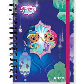 Записная книга блокнот Kite Shimmer&Shine А6,80 л.,клетка,твердая обложка,спираль SH18-229