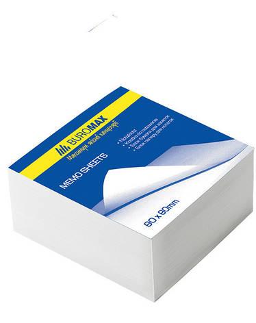 Блок бумаги для заметок непроклеенный Buromax 80х80х30мм белый BM.2201, фото 2