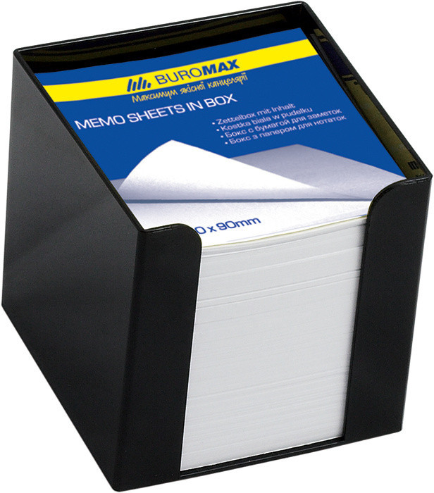 Бокс с бумагой Buromax белая 90х90х90мм 1000 листов чёрный BM.2290-01