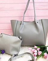 Набор 2в1 сумка+клатч серый 0166