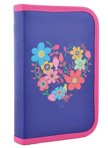 Пенал-книжка Smart 1 отд. без отв. Flowers blue 531656, фото 2
