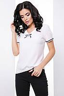 Деловая прямая блуза с коротким рукавом фонариком 7060/2, фото 1
