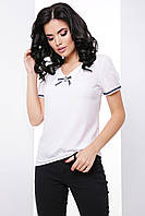 Ділова пряма блузка з коротким рукавом-ліхтариком 7060/2, фото 1