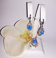 Серебряные серьги и кольцо с благородным опалом