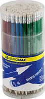 Карандаш графитовый Buromax НВ ассорти металик с ластиком туба BM.8507