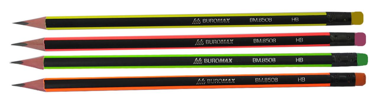 Карандаш графитовый Buromax НВ NEON черно-неоновый с ластиком карт коробка BM.8508