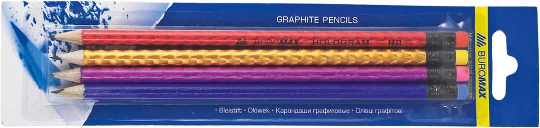 Набор карандашей графитовых HB ассорти голограмма с ластиком 4шт.блистер, фото 2