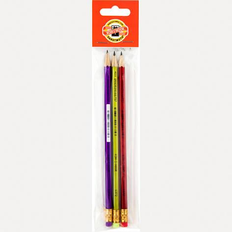 Карандаш графитный Koh-i-noor НВ Oriental с ластиком блистер 3шт 1372/3/P, фото 2