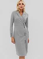 Деловое приталенное платье серого цвета (Demar crd)
