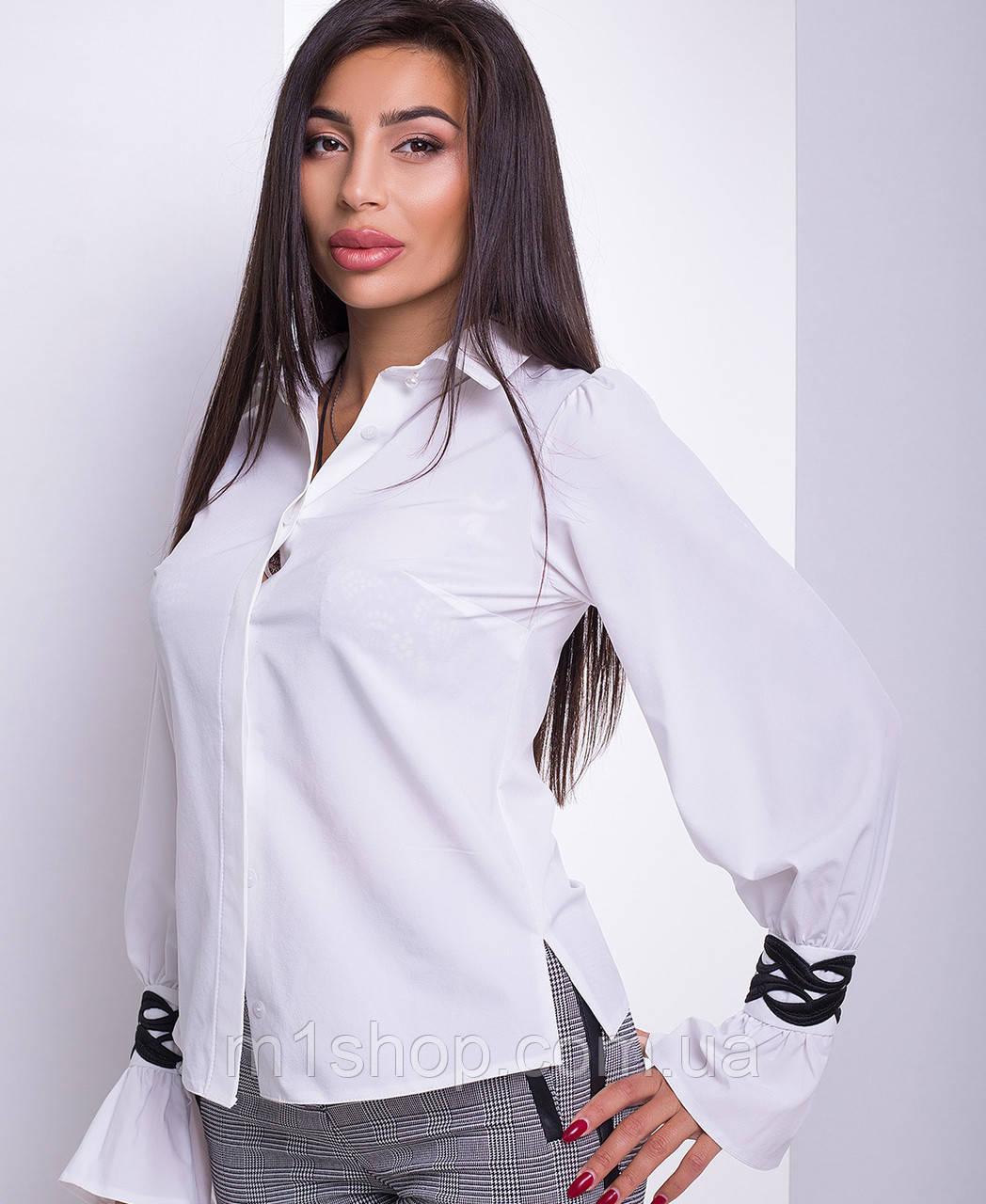 Женская рубашка с красивыми узорными манжетами (Аллегро lzn)