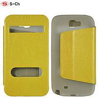 Чехол книжка на Samsung Galaxy Note 2 N7100 b bw желтый
