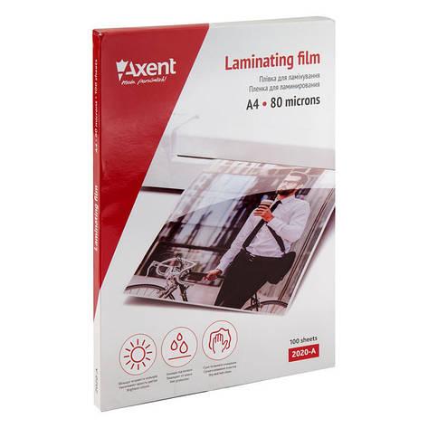 Пленка для ламинирования Axent A4 80мкм 216x303мм 100шт 2020-A, фото 2