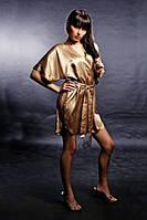 Атласный женский халатик-кимоно BRONZA, размеры 40-44. Красивая шелковая одежда для дома. Опт и розница.