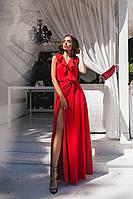 Платье женское в пол на запах с воланамиРасцветка