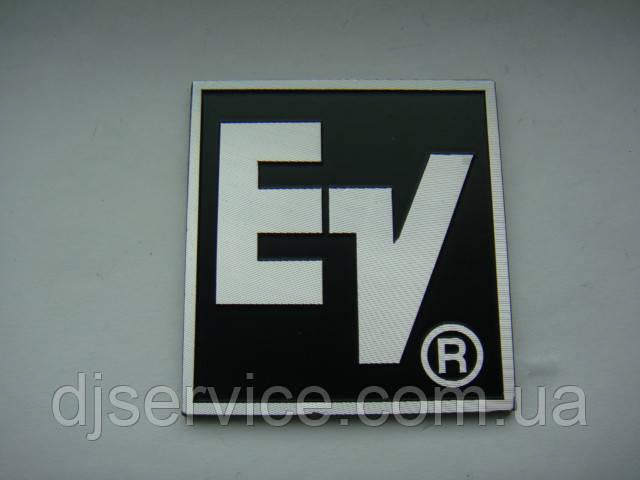 Шильдик, наклейка, логотип 50x48mm (алюминий) 1шт  на сетку колонки EV (Electro voice)