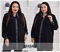 Длинная свободная блузка рубашка большого размера 64-66, фото 1