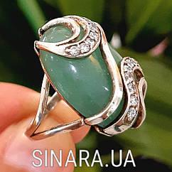 Серебряное кольцо с авантюрином  - Кольцо  с натуральным зеленым авантюрином