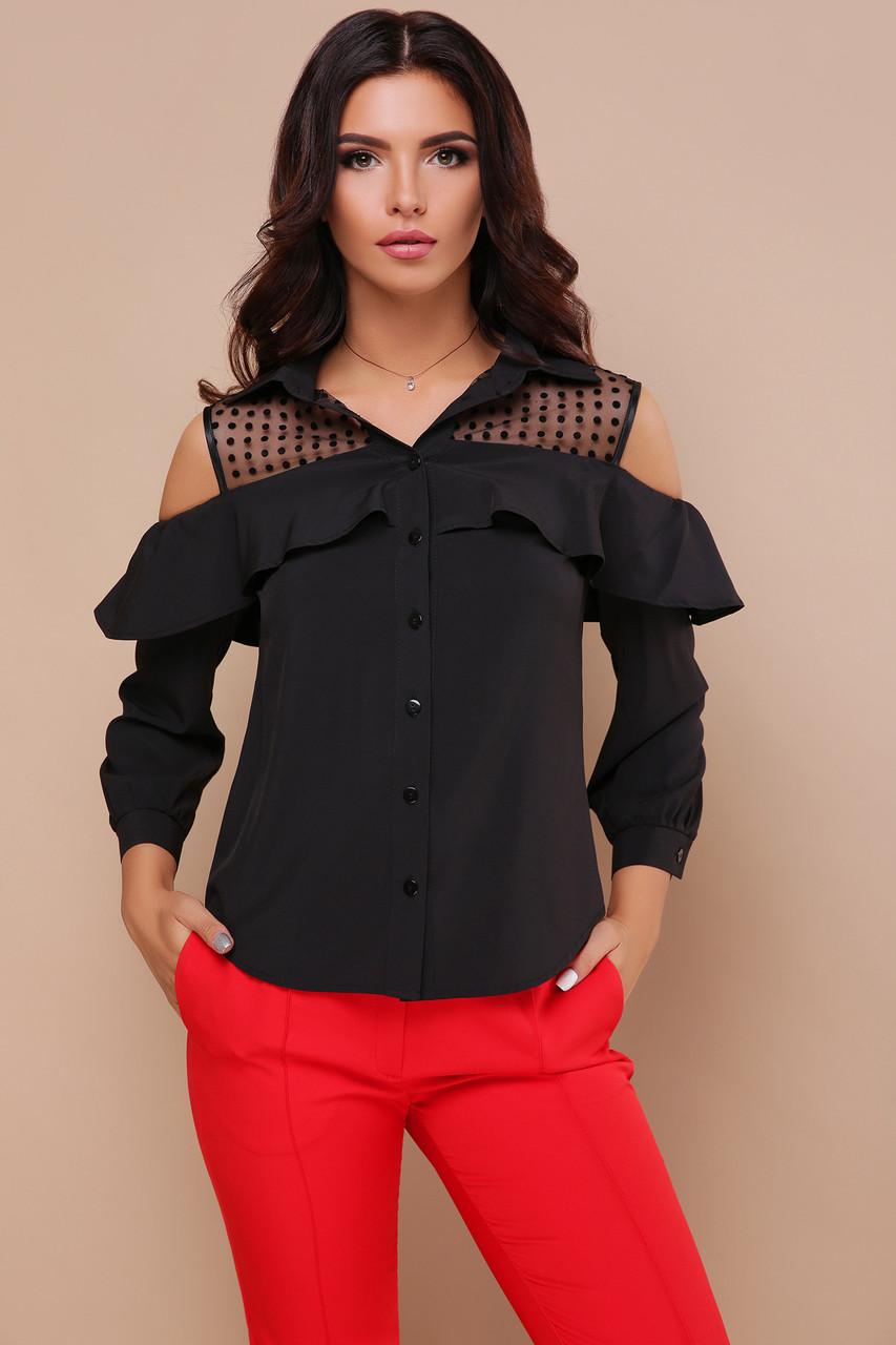 Женская черная блуза Эрика д/р с разрезами на плечах