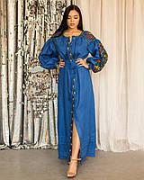 Длинное платье вышиванка в стиле бохо