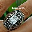 Крупный серебряный перстень с камнями - Стильное серебряное кольцо с чернением и камнями, фото 6
