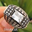 Крупный серебряный перстень с камнями - Стильное серебряное кольцо с чернением и камнями, фото 3
