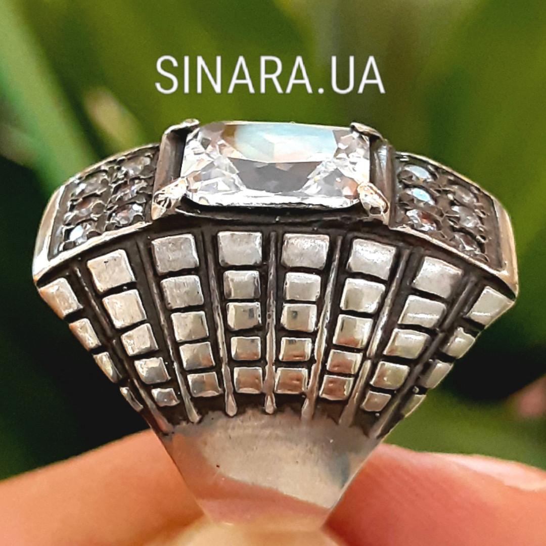 Крупный серебряный перстень с камнями - Стильное серебряное кольцо с чернением и камнями