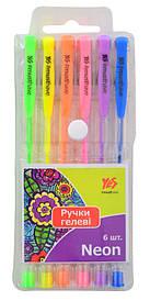 Ручка гелевая YES Neon 6 цв блистер 411706