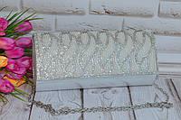 Серебристый женский вечерний клатч со стразами, фото 1