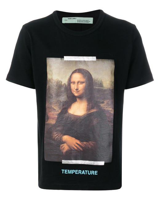 Футболка мужская OFF White SS18 Mona Lisa Мона лиза Black Черная