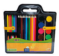 Набор для рисования краски цв.карандаши мелки восковые кисть натуральная точилка