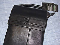 Мужская сумка Gorangd 8875-3 черная из искусственной кожи среднего размера 21 см на 26 см на 7 см