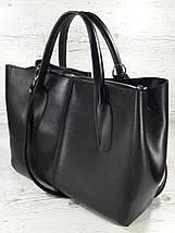 51-3 Натуральная кожа Сафьян Сумка женская кожаная сумка черная Сумка из натуральной кожи черная Женская сумка, фото 2