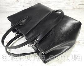 51-3 Натуральная кожа Сафьян Сумка женская кожаная сумка черная Сумка из натуральной кожи черная Женская сумка, фото 3