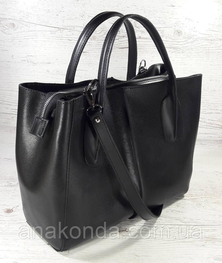 51-3 Натуральная кожа Сафьян Сумка женская кожаная сумка черная Сумка из натуральной кожи черная Женская сумка