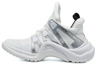 Женские кроссовки LV Archlight Sneaker White Silver (в стиле Луи Витон)