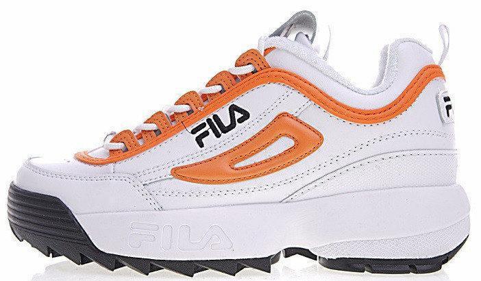 Женские кроссовки Fila Disruptor White Orange Combo(в стиле Фила Дисраптор 2)